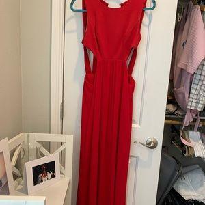 BCBG cutout red maxi gown
